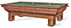 Antique 9'  Warwick Carom Billiard Table